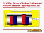 nj ask 4 percent of students proficient and advanced proficient township and nclb