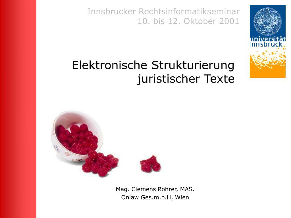 elektronische strukturierung juristischer texte l.
