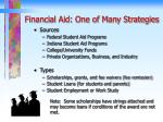 financial aid one of many strategies