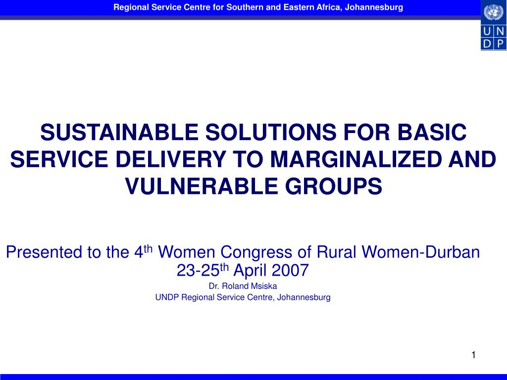 sustainable solutions for basic service delivery to marginalized and vulnerable groups l.