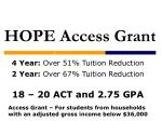 4 year over 51 tuition reduction 2 year over 67 tuition reduction 18 20 act and 2 75 gpa