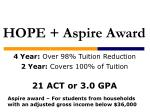 4 year over 98 tuition reduction 2 year covers 100 of tuition 21 act or 3 0 gpa