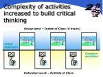 complexity of activities increased to build critical thinking