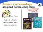 primary source readings assigned before each class