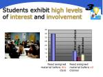 students exhibit high levels of interest and involvement