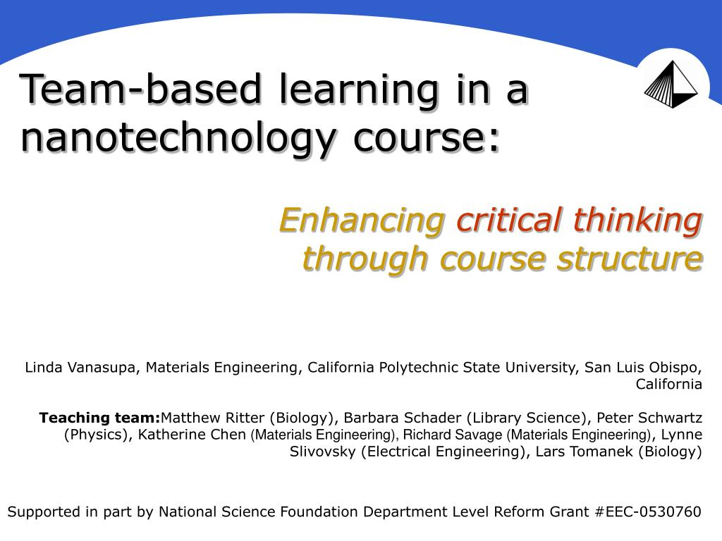 team based learning in a nanotechnology course l.