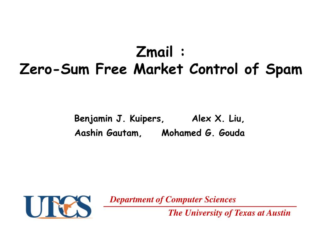 zmail zero sum free market control of spam l.