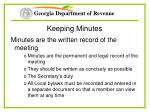 keeping minutes