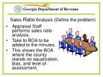 sales ratio analysis define the problem