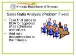 sales ratio analysis problem fixed