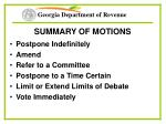 summary of motions