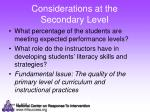 considerations at the secondary level