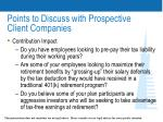 points to discuss with prospective client companies30