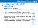 recordkeeping roth 401 k contributions