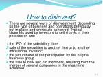 how to disinvest