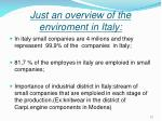 just an overview of the enviroment in italy