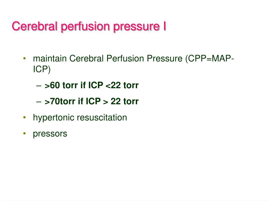 Cerebral perfusion pressure I