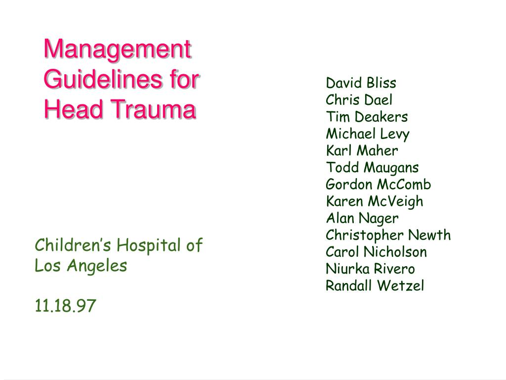 management guidelines for head trauma l.