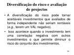 diversifica o do risco e avalia o de projectos