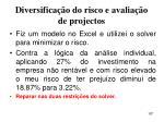 diversifica o do risco e avalia o de projectos187