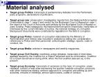 material analysed