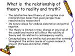 what is the relationship of theory to reality and truth