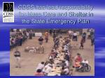 cdss has lead responsibility for mass care and shelter in the state emergency plan