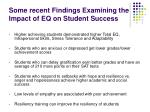 some recent findings examining the impact of eq on student success