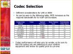 codec selection