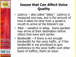 issues that can affect voice quality