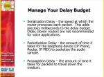 manage your delay budget