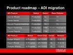 product roadmap adi migration