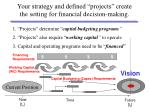 your strategy and defined projects create the setting for financial decision making