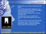 emergence of suicidal events in individuals with tbi