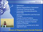 issues of diagnosis and suicide potential
