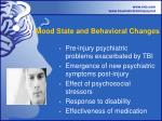 mood state and behavioral changes