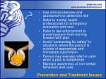 prevention and treatment issues