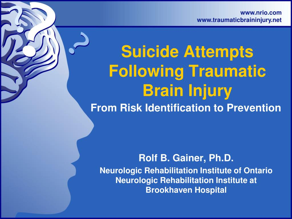 suicide attempts following traumatic brain injury l.