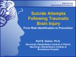 suicide attempts following traumatic brain injury