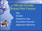 tbi and suicide shared risk factors