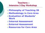 teachers intensive 3 day workshop