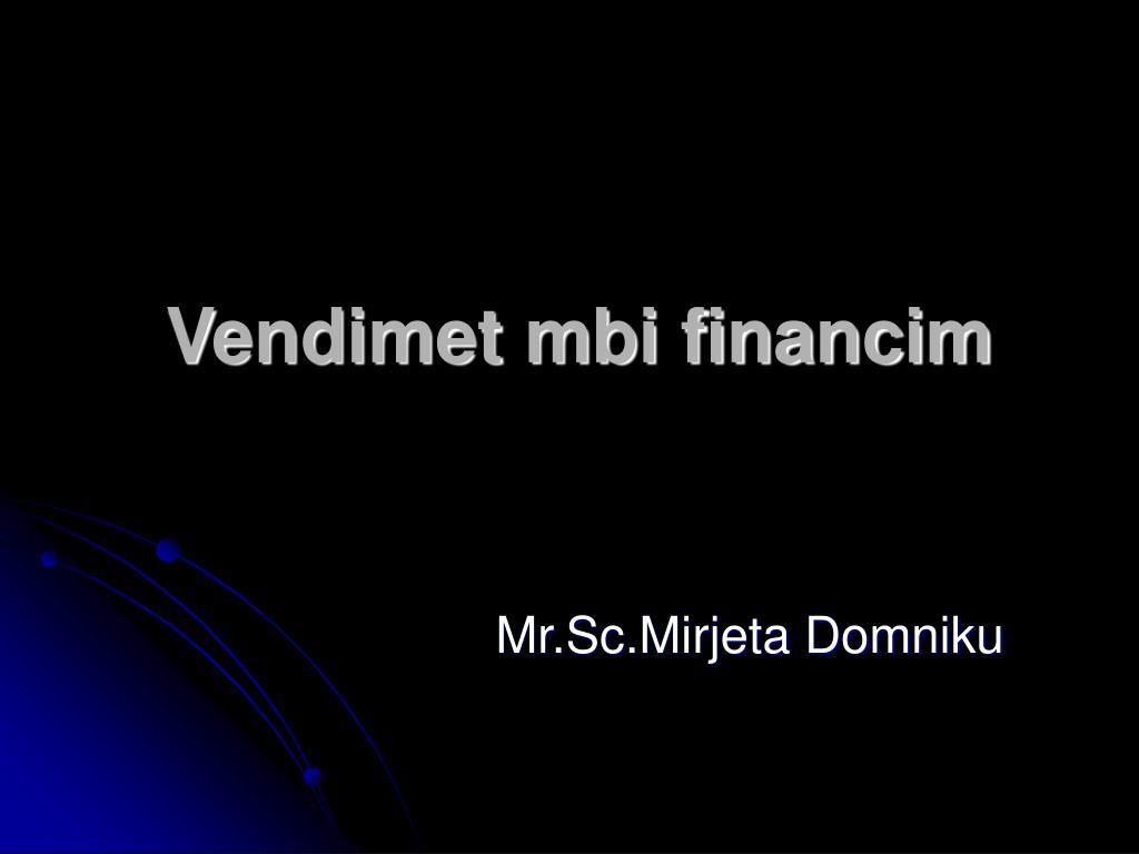 vendimet mbi financim l.