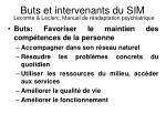 buts et intervenants du sim lecomte leclerc manuel de r adaptation psychiatrique