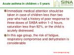 acute asthma in children 5 years101