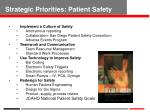 strategic priorities patient safety