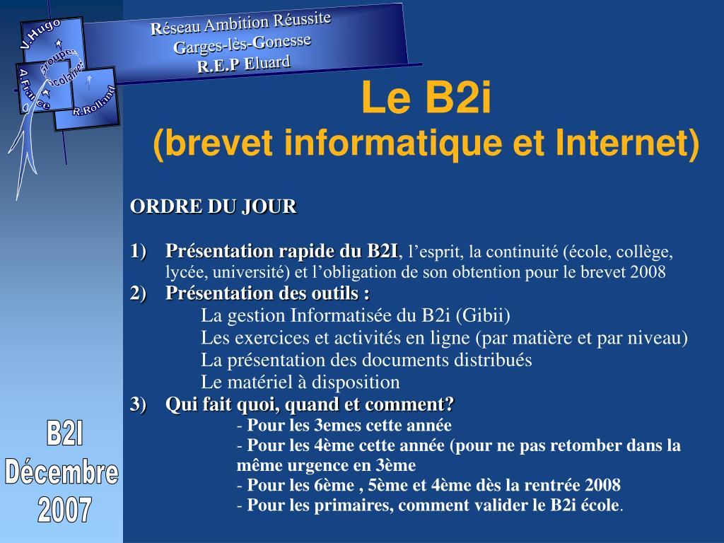 le b2i brevet informatique et internet l.