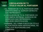 circulacion de tv titulo valor al portador