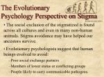 the evolutionary psychology perspective on stigma