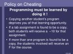 policy on cheating