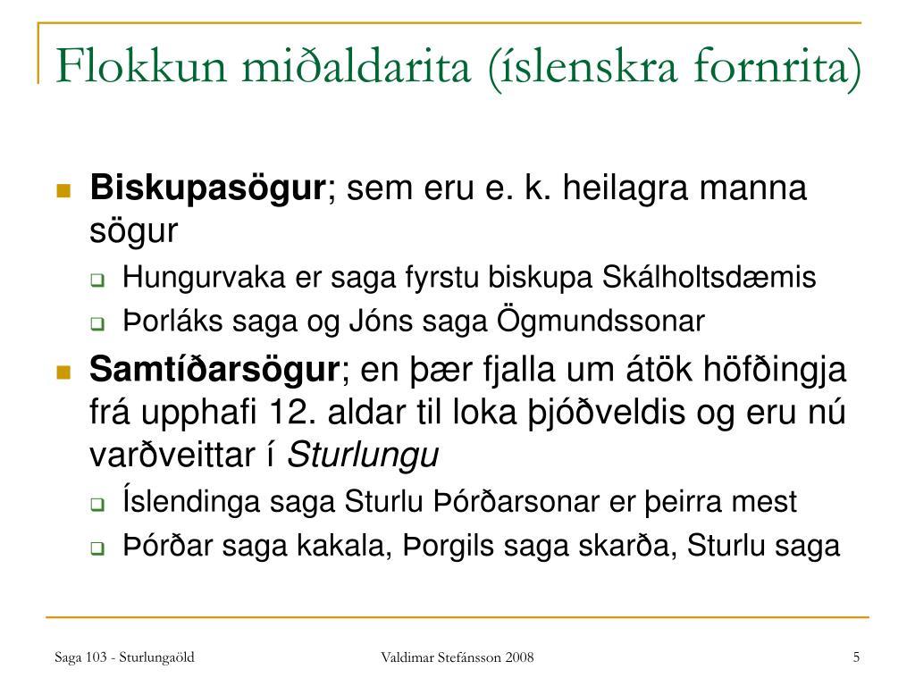 Flokkun miðaldarita (íslenskra fornrita)